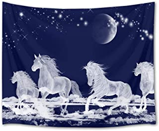 HVEST Galloping Horse Tapestry Horses Running on Ice River Wall Hanging Moon and Star in Night Sky Tapestries for Bedroom Living Room Dorm Party Decor,60Wx40H Inches