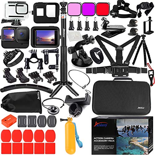 Husiway Action Camera Accessories Kit for Gopro Hero 9 Black Waterproof Housing Silicone Case Glass Screen Protector are Compatible with Gopro9 Hero9 62E