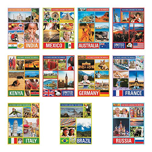 Fun Express Cultures Around The World Posters - 12 Pieces - Diversity and Multicultural Classroom Decor for Preschool, Kindergarten and Elementary Schools
