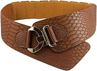 New Belt Fashion Woman Waist Belt PU Leather Snakeskin Pattern Oblique Elastic Personality Ladies Girls Super Wide Belts Very Strong and Durable (Color : Brown)