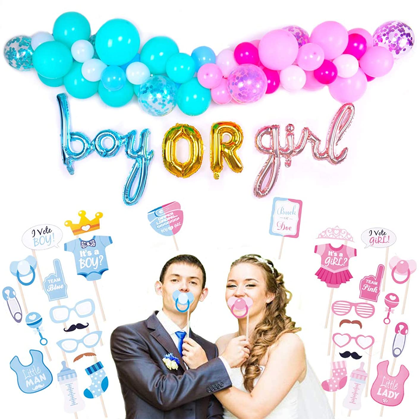 Gender Reveal Party Supplies Pink Blue Confetti Balloon Chain Balloon Tying Tool Boy or Girl Foil Banner Decorations, Photo Booth Props