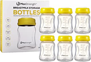 Breastmilk Bottles 6pc Set with Leak Proof Lids by Max Strength Pro, 6.oz 180ml Reusable Wide Neck Bottles Best for Breast Milk Collection & Storage Solution, BPA Free, Fits Spectra & Avent Models