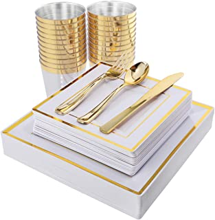 IOOOOO 150PCS Gold Square Plates, Gold Plastic Silverware with Disposable Cups Includes 25 Dinner Plates, 25 Dessert Plates, 25 Forks, 25 Knives, 25 Spoons, 25 Tumblers