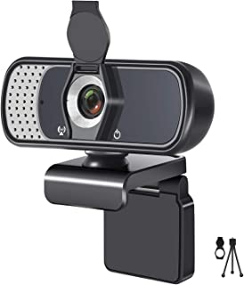 1080P USB Computer Webcam with Microphone, Tripod Stand & Cover, for Windows Mac OS PC, Laptop, Desktop, for Live Streamin...