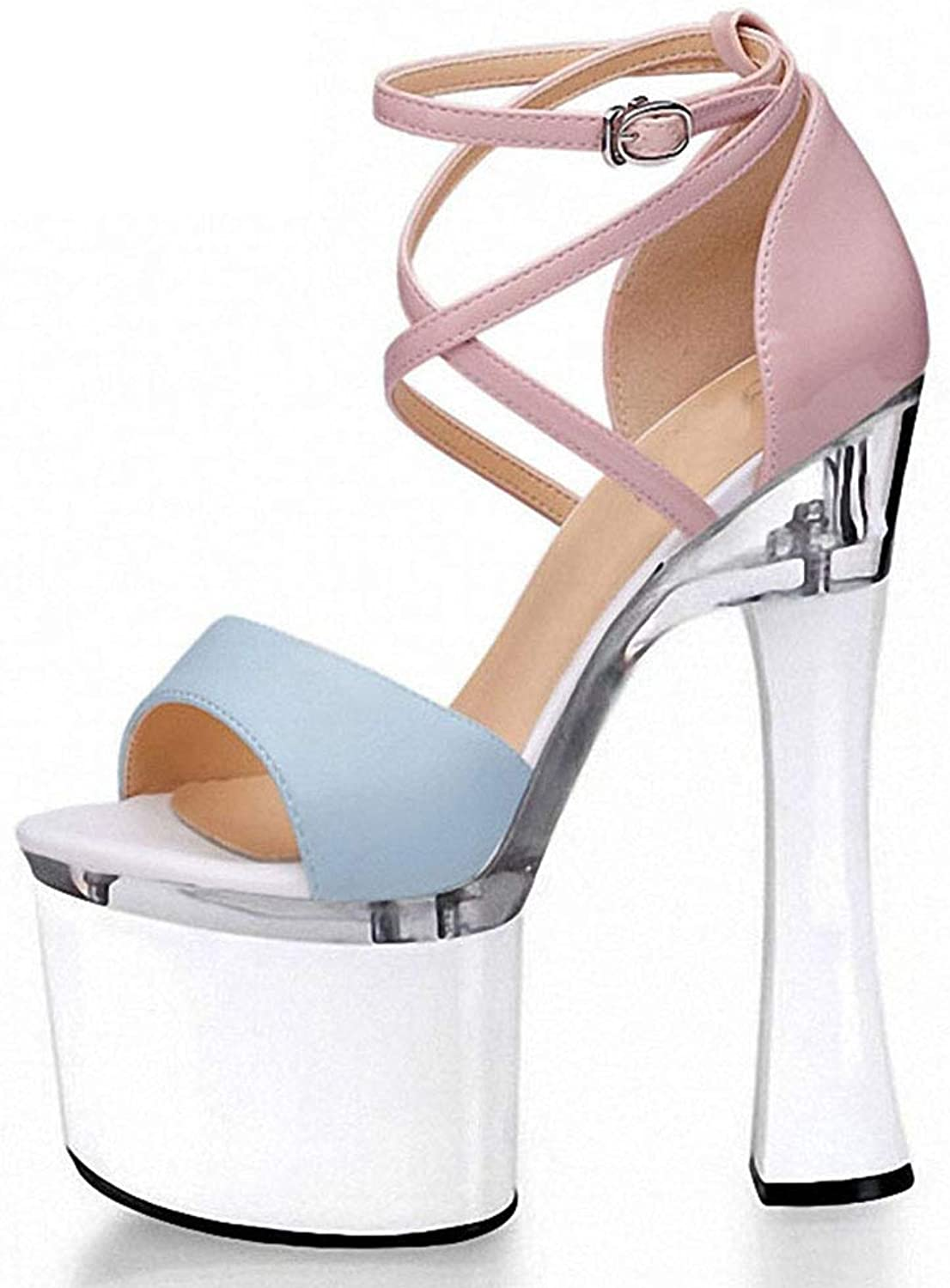 Women's High Heels, 18cm Thick with European and American Style Roman Women's shoes with Super High Heel Platform Sexy Nightclub Hollow Fish Mouth Sandals,a,38