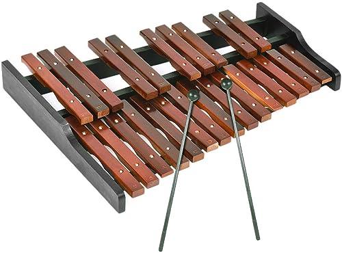HshDUti 25 Note Jouet précoce d'éducation de percussion de xylophone en bois d'instruHommest de musique d'enfants rouge+noir