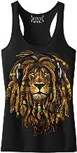 Junior's Dreadlock Rasta Lion Headphones Black Racerback Tank Top T-Shirt Black