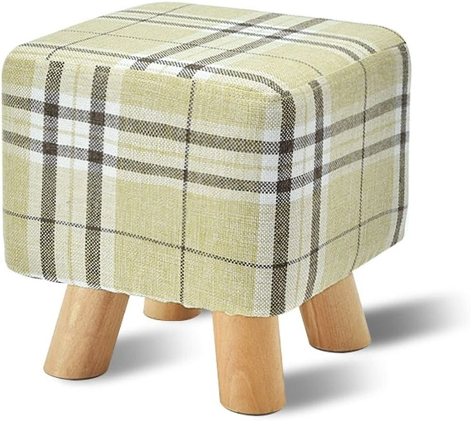 Upholstered Footstool Solid Wood Change shoes Stool Upholstered Footstool Footrest Small Seat Foot Rest Chair Brown Multifunction use (color    6)