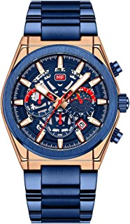 MINI FOCUS Classic Men Quartz Watch Analog Chronograph Business Wrist Watch with Calendar 3ATM Waterproof Luminous Dial Dr...
