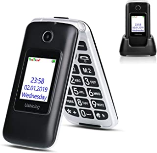Ushining 3G Unlocked Flip Cell Phone for Senior & Kids, Easy-to-Use Big Button Cell Phone with Charging Dock, A&T or T-Mob...