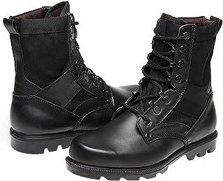 曼熙威 男士真皮军迷靴 复古休闲 军迷陆战靴 户外战术高帮丛林靴