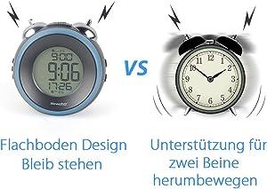 Reacher Digital Doble Campanas Reloj Despertador con Pantalla LCD, Dual Subir Alarma, Snooze, 12/24Horas, Alimentado por batería, Negro