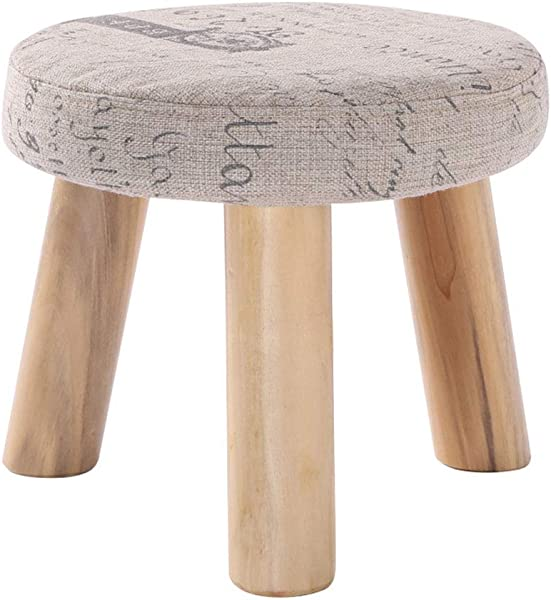 Solid Wood Round Footstool Household Change Shoes Sofa Low Stool 3 Legs And Removable Linen Cover 28cmx25cm Max 100KG