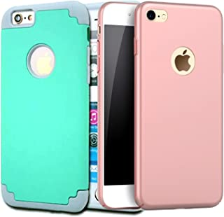 [2Pack]iPhone 6 Plus Case, iPhone 6S Plus Case, CaseHQ Slim Fit Shell Hard Plastic PC Full Protective Shock Proof Anti-Scratch &Fingerprint Non Slip Cover for iPhone 6 /6S Plus 5.5 inch-Rosegold+teal