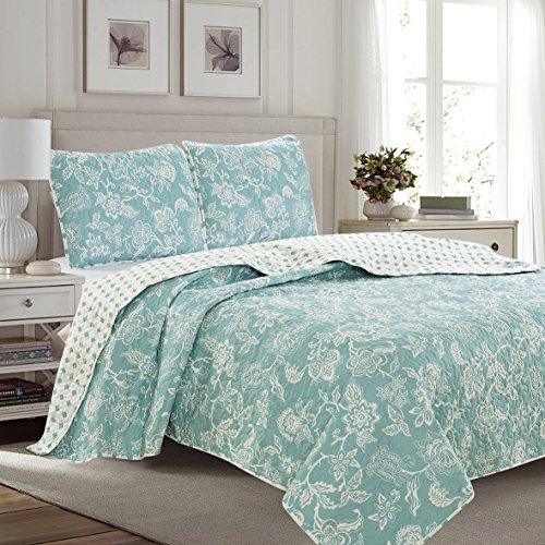 Great Bay Home 3-Piece Reversible Quilt Set with Shams. All-Season Bedspread with Floral Print Pattern in Contemporary Colors. Emma Collection Brand. (Full/Queen, Blue)