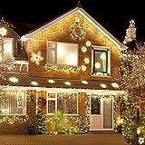 Peccider catena luci pioggia ghiacciata 480LED 12M luce con 8 Modalità di Illuminazione, Luci Decorative Luci Natalizie per Atmosfera Romatica(Bianco Caldo)
