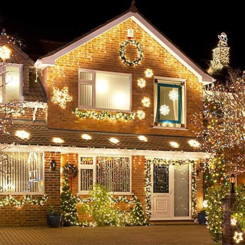 LED Lichtervorhang,12M 480 Led PECCIDER 8 Modi Lichterkette Eisregen Vorhang strombetrieben,Lichterkette außen&innen, Schlafzimmer Hochzeit Weihnachten Party (Warmweiß)
