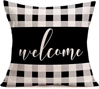 """Pillow Covers Vintage Black White Grey Buffalo Checkers Plaids with Welcome Quote Decor Cotton Linen Throw Pillow Cases Decorative Outdoor Cushion Cover 18""""x18"""" Autumn Halloween Thanksgiving (F-BC9)"""