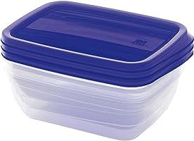 طقم علب حفظ طعام بلاستيك فيدو من كايس، 1 لتر - ازرق وشفاف - 3 قطع