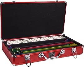 White Swan Mah Jongg Set - Ivory Tiles - Classic Pusher Arms - Aluminum Case - Red