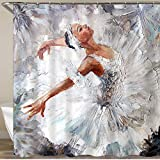 COFEIYISI Neueste Duschvorhänge Duschvorhang Mit Haken Ölgemälde Mädchen Ballerina Wasserdicht Bad Vorhang Waschbar Bad Vorhang Polyester Stoff mit 12 Haken 180x180 cm