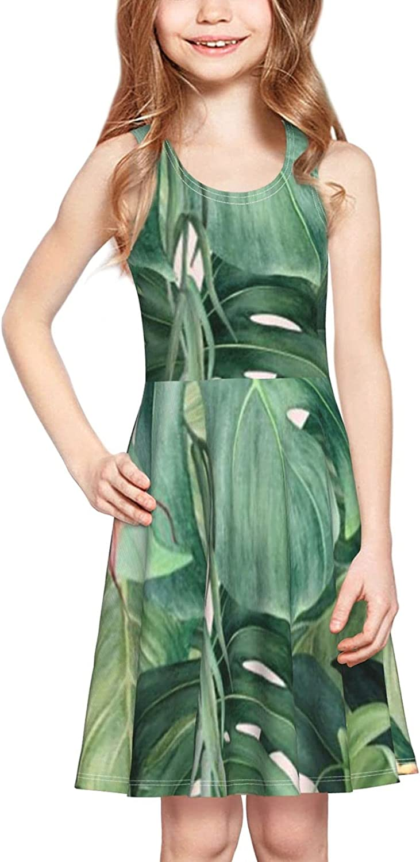 YhrYUGFgf Palm Tree Leaves Dress Girl's Sleeveless Dress Casual Skirt Tank Dress