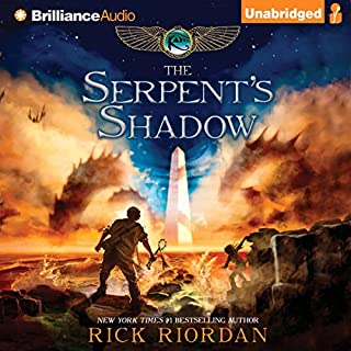 The Serpent's Shadow: The Kane Chronicles, Book 3                   Written by:                                                                                                                                 Rick Riordan                               Narrated by:                                                                                                                                 Katherine Kellgren,                                                                                        Kevin R. Free                      Length: 11 hrs and 22 mins     18 ratings     Overall 4.9