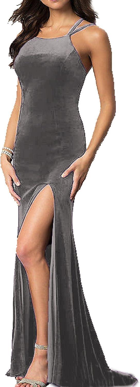 JQLD Women Mermaid Long Velvet Prom Dresses 2018 Sexy Backless Side Slit Evening Gown Formal