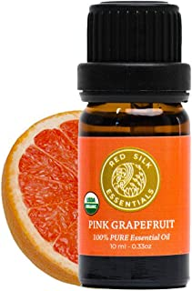 Red Silk Essentials USDA Organic Pink Grapefruit Essential Oil, Pure Natural Aromatherapy for Energy, Mood- 10 ml