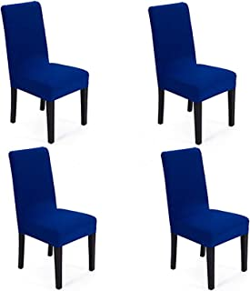 She Yang Spandex Fabric Stretch Removable Washable Dining Room Chair Cover Protector Seat Slipcovers Set Of 4 or 6 (Royal ...