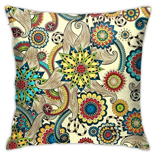 Throw Pillow Covers Cases Square Cushion Cover 45X45CM for Sofa Couch Bed Home Decoration, Doodles Design Seamless Pattern