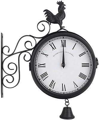 Reloj de Pared de Hierro Forjado para jardín, Forma de Campana de Gallo de Doble Cara al Aire Libre Reloj Colgante de Pared Forma de Gallo Reloj de Pared Colgante Vintage Decoración