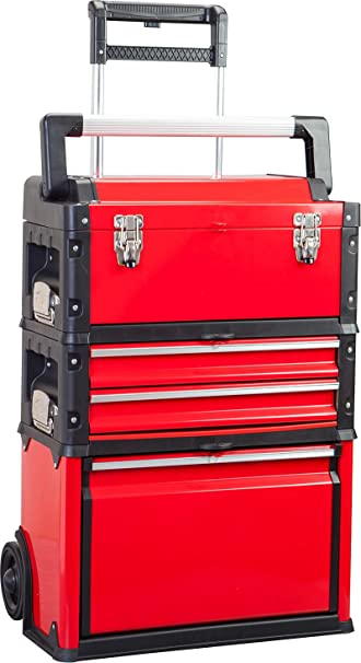 BIG RED TRJF-C305ABD Torin Garage Workshop Organizer: Portable Steel and Plastic Stackable Rolling Upright Trolley Tool Box with 3 Drawers, Red: image