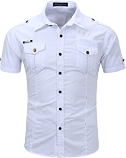 Mens Casual Short Sleeve Work Shirt, Button Down Shirt, 2 Pockets Man Shirt