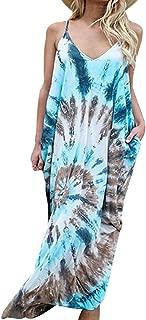kenoce Women's V Neck Print Spaghetti Strap Boho Long Maxi Summer Beach Dress Sundress with Pockets