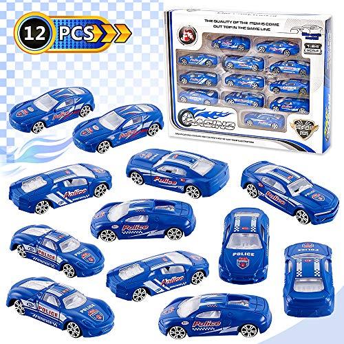 HERSITY 12 Pcs Polizeiauto Spielzeug Metall Spielzeugautos Polizei Mini Polizeiwagen Modelle Fahrzeuge Set Deko Geburtstagskuchen Geschenke für Kinder Jungen