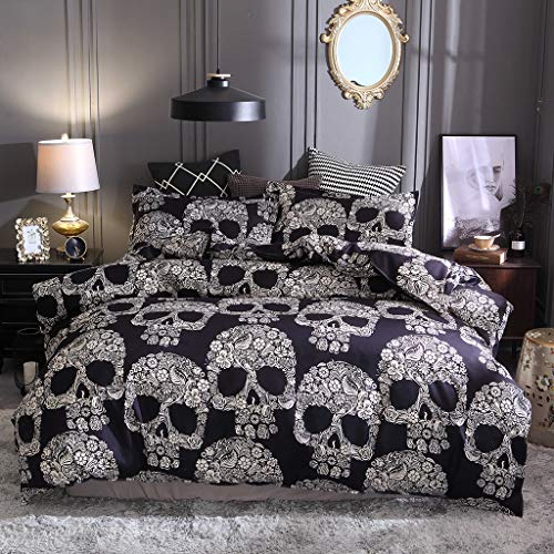 Zzh 3PCS Flower Skull Bedspread Pillowcase, 3D Printed Bedding Set, King Duvet Cover Bedding Bedspread For Adult Men Women Boys Quilt Cover,245 * 210cm