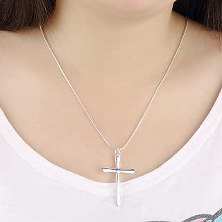 WKShop Fashion New 925 Sterling Silver Charms Cross Pendant Beautiful Women Necklace