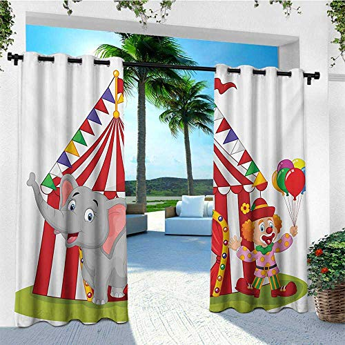 leinuoyi Circus, Outdoor Curtain Kit, Cartoon Cute Elephant Standing with Clown Circus Tent Enjoyment Funfair Illustration, for Patio Furniture W72 x L96 Inch Multicolor