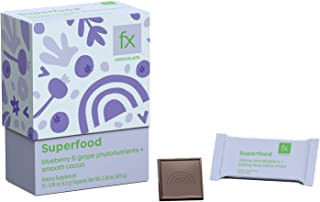 Fx Chocolate Superfood - Keto Dark Chocolate - Certified Organic Cacao with Antioxidants from Blueberry + Muscadine Grape,...