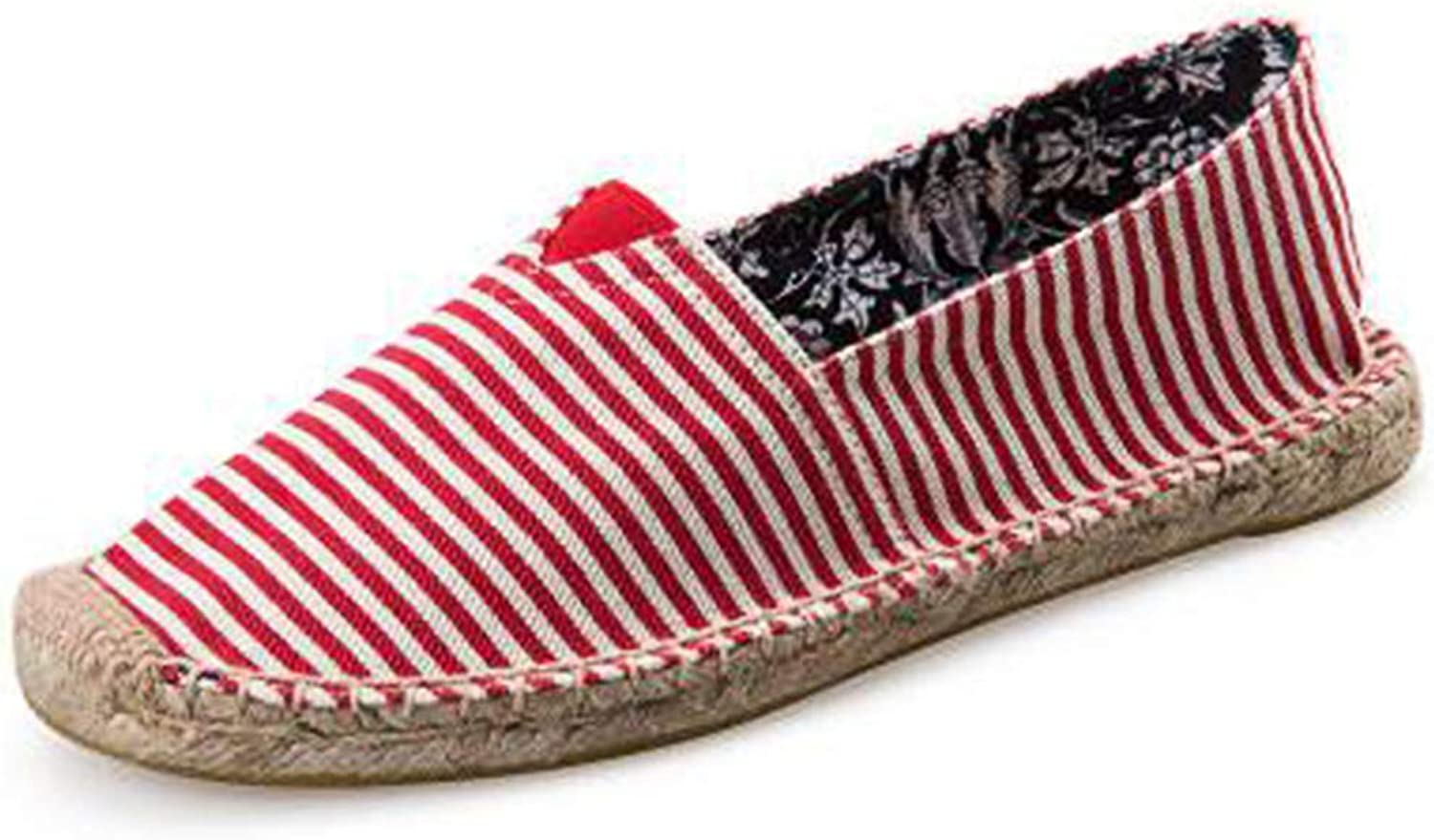 York Zhu Women Flats,Retro Bohemian Striped Espadrilles Breathable Casual Loafers
