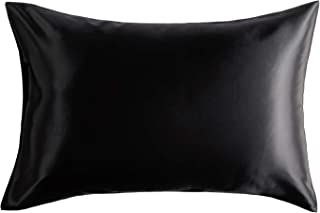 Bedsure Silk Pillowcase - Queen Size (20 x 30 inches) Pillowcase - 100% Mulberry Silk on Both Sides, Pillow Case for Hair and Skin with Envelop Closure - Black Pillow Cover, 19-Momme, 1 Pack