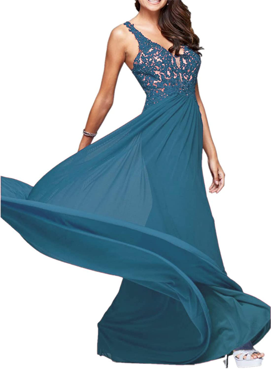 Sweet Bridal Women's Lace Appliques VBodice Prom Dress Long Evening Gowns