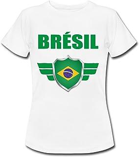 4bb481acd6f18 yonacrea Shirt Enfant - Brésil - Coupe du Monde de Football 2018 - Prénom  Personnalisé -