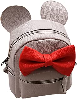 Iwemek Women Girls Cute Mini Backpack Casual Travel Mouse Ear PU Leather Shoulder School Bag Rucksack Daypacks, Grey, One size