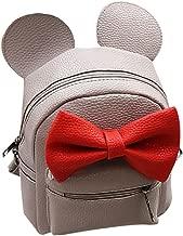 Iwemek Women Girls Cute Mini Backpack Casual Travel Mouse Ear PU Leather Shoulder School Bag Rucksack Daypacks, Grey, One size