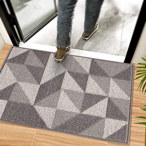 Indoor Doormat 20x32 Grey - Absorbent Front Back Door Mat - Non Slip Resist Dirt Entrance Rug Carpet - Machine Washable Low Profile Floor Mats