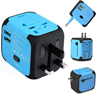 Ailuner Travel Adapter,Worldwide Power Converters Universal World Travel Plug Adapter with 2.4A Dual USB Charger & Worldwide AC Wall Outlet Plugs for USA EU UK AU. (Blue)