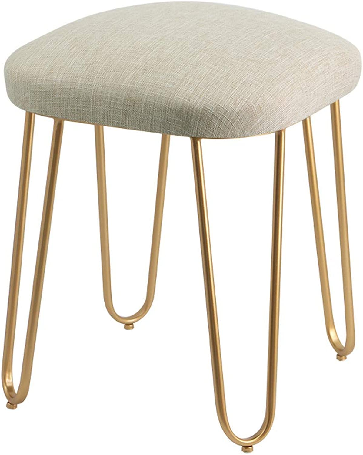 Makeup Stool Wrought Iron Footstool, Simple Dressing Stool, Home Fabric, shoes Bench, Suitable for Living Room, Bedroom, Entrance (Khaki)