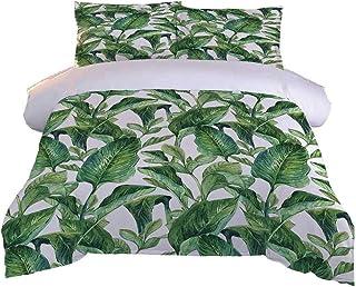 AYGWHW Parure De Lit 2 Personnes Feuilles Vertes Tropicales Housse De Couette 220X240 Cm + 2 Taies d'oreiller 65X65 Cm, Pa...
